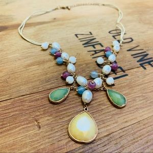 Faux Beaded Necklace — White Pink Blue Green